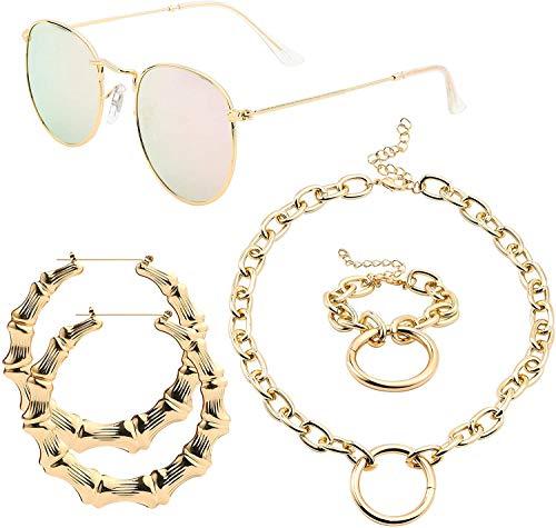 WATINC 4 Stück Hippie Costume Accessories Set Otake Bambus Ohrringe Goldrahmen Pink Sonnenbrille Golden Chain Halskette Armband, Bamboo Earrings Goldene Necklace Mode Hippie Schmuck für Frauen