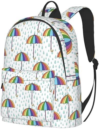 Amacigana Zaino grande per escursionismo con ombrelli colorati College High Work Travel grande capacità di 16 pollici, borsa fasciatoio, borsa fasciatoio, per uomini e donne, 01, L,