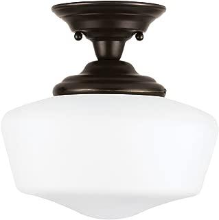 Sea Gull Lighting 77436-782 Academy One-Light Semi-Flush Mount Ceiling Light with Satin White Glass, Heirloom Bronze Finish