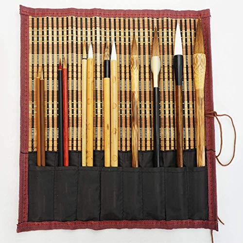 Escribir cepillo de caligrafía china conjunto de pinceles de dibujo de pintura 12 piezas/conjunto+Roll-up bambú cepillo titular