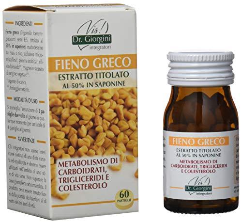 Dr. Giorgini Integratore Alimentare, Monocomponenti Erbe Fieno Greco Estratto Titolato al 50% in Saponine Pastiglie - 30 g