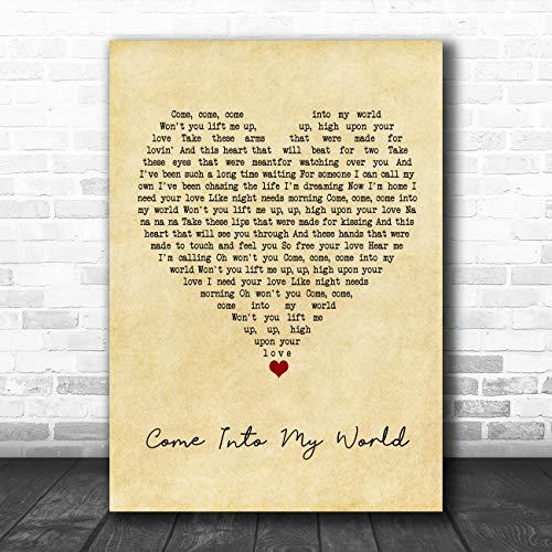 Kom in mijn wereld vintage hart lied lyrische citaat muziek poster print Large A3
