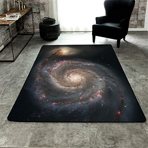 WQ-BBB Bonita Super Lujoso Rugs Decoración de patrón cósmico Fresco Alfombra Salon Negro Amarillo Rojo Suave Comedor La Alfombrae 80X120cm