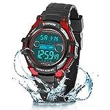 Relojes de Pulsera Electrónicos para Niños Niños Digital Relojes Deportes–5 ATM Reloj Deportivo Impermeable al Aire Libre con Alarma Cronómetro Luces de Colores de Fondo (Negro Rojo)