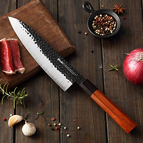 Gyuto Chef's Knife, 8 inch Japanese Chef Knife 3 layers 9CR18MOV Clad Steel Japanese Kitchen Knife , Alloy Steel Gyuto Knife, Sushi Knife for Kitchen/Restaurant, Octagonal Handle, Gift Box