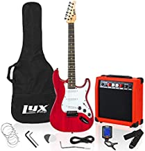 LyxPro 39 inch Electric Guitar Kit Bundle with 20w Amplifier, All Accessories, Digital Clip On Tuner, Six Strings, Two Picks, Tremolo Bar, Shoulder Strap, Case Bag Starter kit Pack Full Size