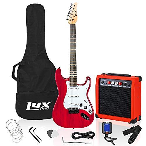 LyxPro - Kit per chitarra elettrica da 99 cm, con amplificatore da 20 W, tutti gli accessori, con clip digitale, six Strings, due picks, Tremolo Bar, spalla, custodia per starter kit Full Size – Rosso