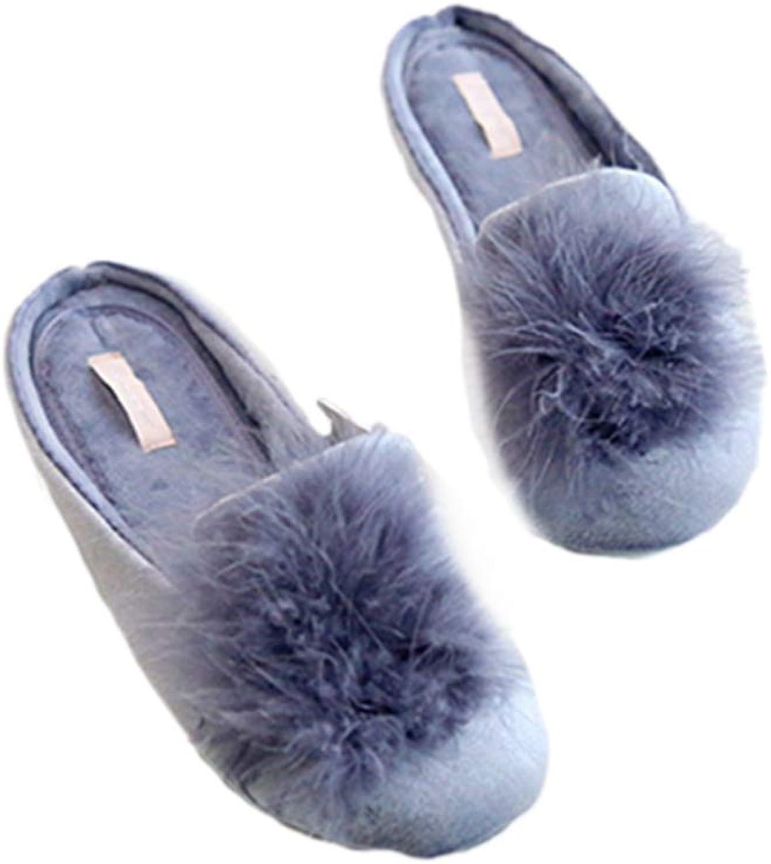 womenes de Felpa cálidas Zapatillas de casa lindas mullidas interiores Zapatillas cómodas de piel pink blue