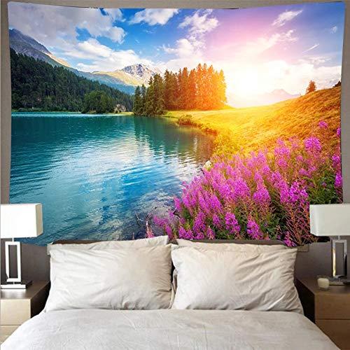 N/A Decoración de tapices Forest Stream Tapiz de montaña River Wall Blanket Tela de poliéster Wall Cloth Decoracion habitacion Carpet