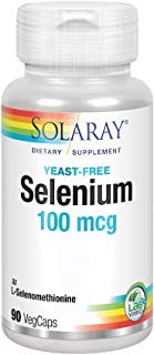 Solaray No Yeast Selenium 100 mcg | Healthy Immune System & Thyroid Function Support | Vegan & Non-GMO | 90 VegCaps