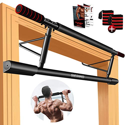 SIEBIRD Pull Up Bar for Doorway No Screw, Multi-Gym Chin Up Bar with Smart Hook Technology, Portable Home Gym Equipment with Bonus 2 Professional Wrist Straps