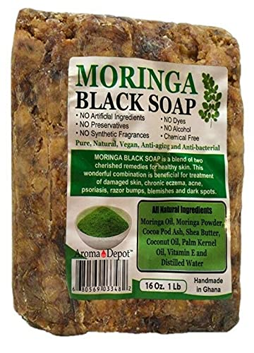 Moringa Raw African Black Soap 1 lb / 16 oz 100% Natural soap for Acne, Eczema, Psoriasis, Scar Removal Face And Body Wash. Handmade by Aroma Depot