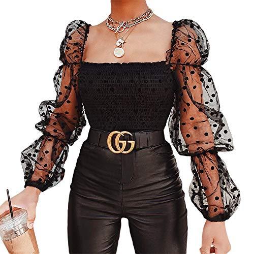 I3CKIZCE Crop Top de mujer de manga larga con estampado transparente elástico con lunares y cuello cuadrado...