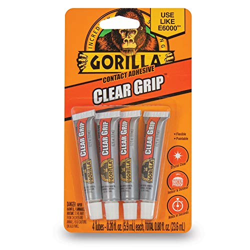 Gorilla Clear Grip Contact Adhesive Minis, Waterproof, Four .2 ounce Tubes, Clear, (Pack of 1)