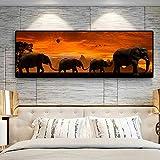 Póster de animales africanos, pintura en lienzo de vida silvestre, carteles de familia de elefantes e impresiones, imágenes de paisajes para decoración de sala de estar, arte 50x150 CM (sin marco)