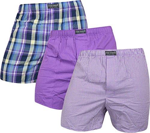 normani 3 x Herren Web Boxershorts aus 100% Baumwolle Farbe Lila Größe L