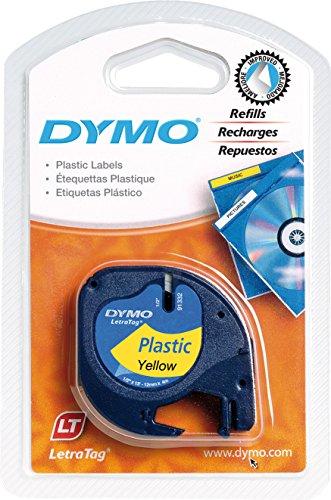 Dymo Authentisch Kunststoffetiketten LetraTag, 12 mm x 4 m, schwarz auf gelb, für Dymo LetraTag Etikettendrucker