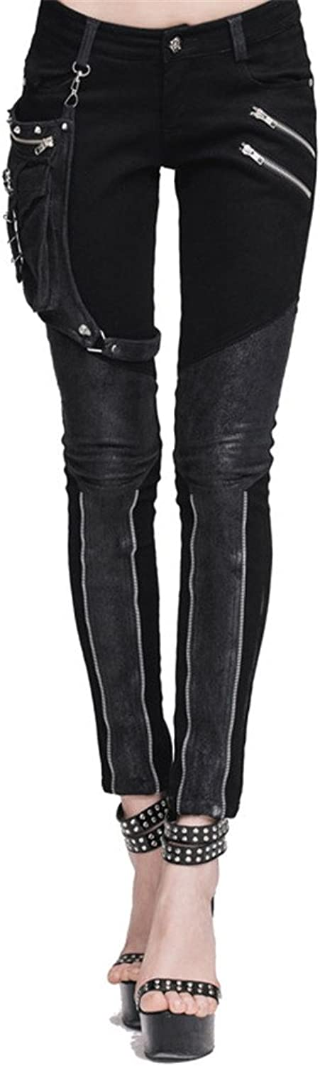 Punk Women's Cotton Casual Pants with Pocket Patchwork Long Trousers