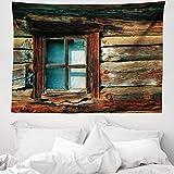 ABAKUHAUS Landschaft Wandteppich & Tagesdecke, Holz-Muster-Fenster, aus Weiches Mikrofaser Stoff Für den Wohn & Schlafzimmer Druck, 150 x 110 cm, Braun & Blau