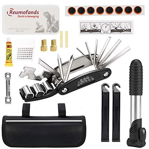 Fahrrad-Multitool Set, 16 in 1 Werkzeuge für Fahrrad Reparatur Set, Fahrrad Werkzeug mit Tasche, Praktisches Fahrrad Werkzeug, Multifunktions-Fahrradreparaturwerkzeug, Werkzeug & flickzeug