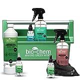 bio-chem Premium Fahrradreiniger Set 8-tlg: Fahrradreiniger, Antriebsreiniger, Antriebsentfetter, Antriebsöl, Fahrradpflege, Brillenreiniger, Mikrofasertuch + Werkzeugbox für alle Fahrräder & E-Bikes