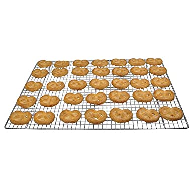 """Cooling Rack - 100% Stainless Steel Wire Baking Rack - Fit Half Sheet Cookie Pan – Oven Safe for Grilling, Roasting, or Cooking – Size: 12"""" x 17"""""""