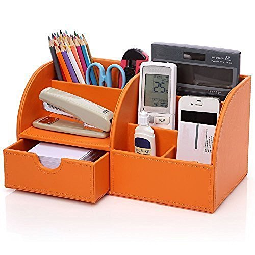 Cosanter 7 almacenamiento de cuero de escritorio suministros organizador naranja oficina multifunción pluma Pot titular