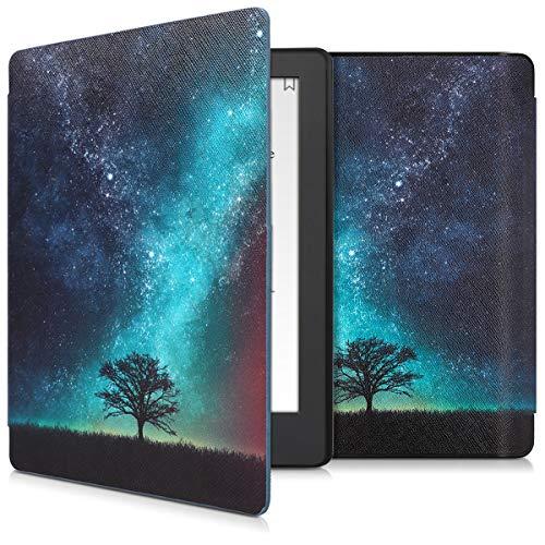 kwmobile Hülle kompatibel mit Kobo Aura H2O Edition 2 - Kunstleder eReader Schutzhülle Cover Case - Galaxie Baum Wiese Blau Grau Schwarz