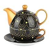 Artvigor Set 3 Pezzi Teiere Caffettiere Caraffe per tè e caffè con Tazzine da caffè e Piattini in Porcellana Ceramica Set da caffè tè per Una Persona Colori Misti Nero