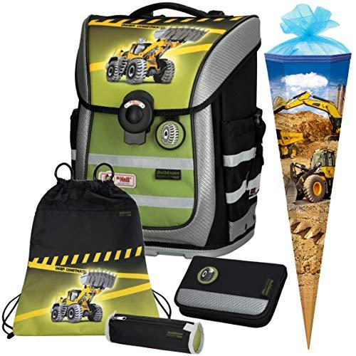 Bulldozer - Bagger - McNeill Ergo Pure Flex Schulranzen-Set 5 TLG. - SCHULTÜTE 85cm GRATIS!