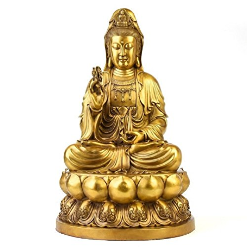 Fengshui Buddha Statues Decor for Home, Guanyin/Kuanyin Bodhisattva Figurine,Magic Buddha Statues and Sculptures Brass Handicraft for Good Luck & Happiness 10' inches Tall