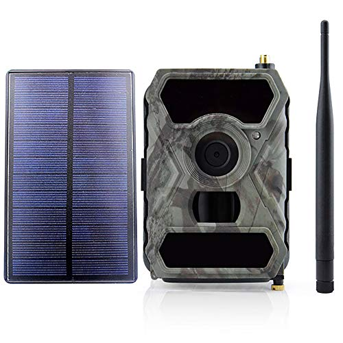 3G Wildkamera Fotofalle 12MP 1080P mit Handy übertragung und APP-Steuerung, Jagdkamera 3G GSM GPRS 56 Pcs Low-Glow 940nm IR-LEDs, Infrarot-Nachtsicht 20m, IP54 wasserdichte mit Sonnenkollektoren