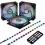 DS 120mmレインボーワイヤーRGB LEDコンピュータケースファン、PCケース、CPUクーラー、ラジエーターシステム(3個rgbファンキット、RFリモートコントローラー、Dシリーズ)
