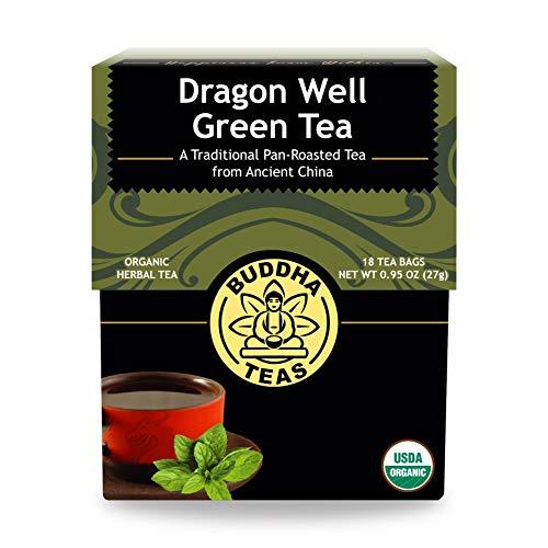 Organic Dragon Well Green Tea – 18 Bleach-Free Tea Bags – Caffeinated Herbal Tea with Toasty Aroma and Flavorful Sweetness, Source of Vitamin C, Catechins, and Antioxidants, Kosher, GMO-Free