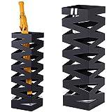 BAKAJI Portaombrelli Stand in Ferro Design BAK4B Forma Quadrata Colore Nero con Decorazione a Intarsi Vaschetta Salvagoccia e Ganci per Ombrelli Pieghevoli Dimensioni 49 x 15,5 cm