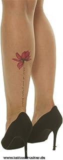 2 x buntes Lotusblumen XL Tattoo - Schriftzug - Body Tempora