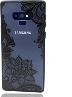 LEMONCOVER Phone Case Compatible with Galaxy Note 9 Case,Henna Lace Flower Slim Fit Case for Girls Shockproof Soft Bumper Hard Matte Back Paisley Design Cover for Galaxy Note 9,Floral Black Mandala