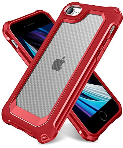 iPhone 6S Case, iPhone 6 Case with [ Screen Protector Tempered Glass x2Pack] SUPBEC Protective Phone Cover with Silicone PC+TPU Shockproof Rubber Heavy Duty Case for iPhone6 / iPhone6S-Clear Red