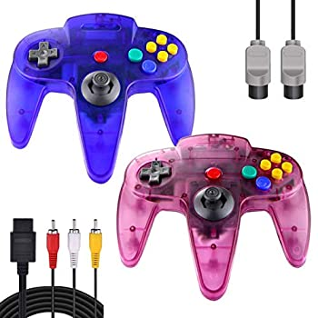 ZeroStory Classic N64 Controller Wired N64 Controller Joystick with 5.9 Ft N64 AV Cable for N64 Video Game Console  Transparent Blue and Transparent Purple