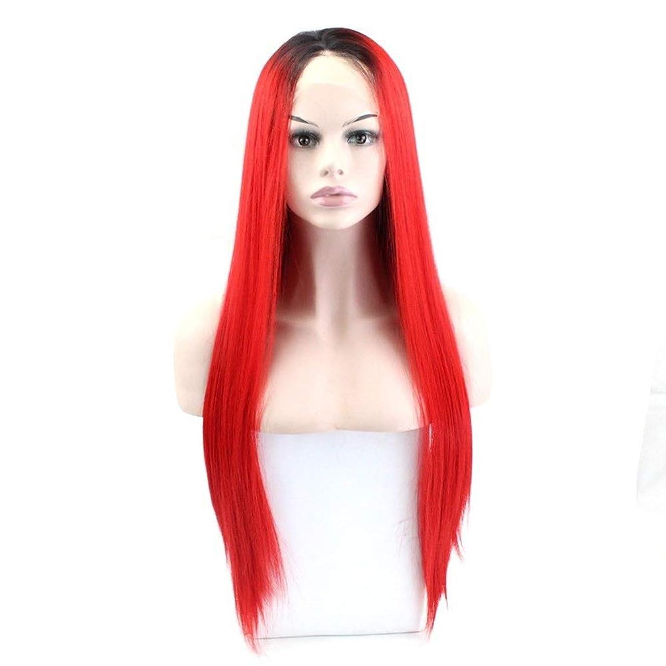 スイ鎮静剤評議会ZXF ヨーロッパとアメリカのかつら女性のフロントレース化学繊維かつらレースのかつら長い髪のワインレッドの高温シルクのかつらを染めることができます 美しい