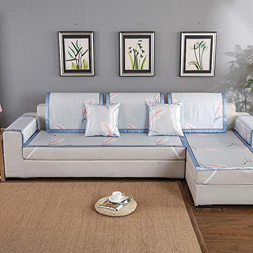 Supengyuan Ice seda sofá cojín fresco en verano enfriamiento rápido hielo seda sofá cubierta de bambú ratán sofá cojín antideslizante funda, azul, 70*70