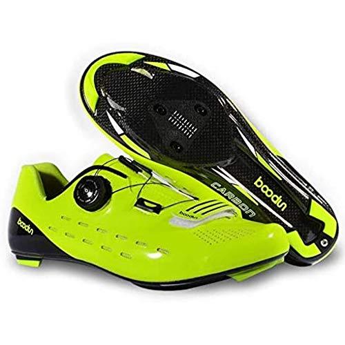 JINFAN Zapatillas De Ciclismo para Hombre Hechas De Fibra De Carbono Cierre Automático con Zapatillas De Conducción Ultraligeras Diseño Transpirable + Plantilla Transpirable,Green-41