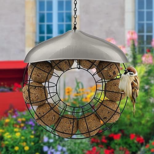 Comedero Pajaros Alimentador de aves a prueba de viento a prueba de viento Titular de la bola de la grasa Negro Redondo Metal Estilo de colgante Alimentador de pájaro Anillo de comida grande Comedero