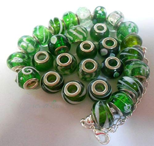 TANAMI Store Vintage Charm Supplies for Green Charm Beads Bangle Bracelet pd chamilla 2 Gift Craft Birthday st Patrick's DIY Charm Jewelry Gift for Women Girls.