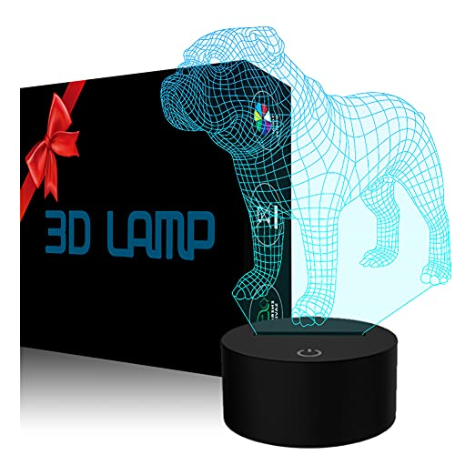 YKLWORLD 3D Illusion Lamp USB LED French Bulldog Night Light Desk Table Atmosphere Lamp 7 Color Changing Touch Control as Home Bedroom Decor for Animal Dog Toy Lovers Kids Xmas Birthday Gifts