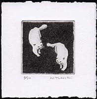 二匹の白い猫銅版画・エッチング、作品のみ コレクション