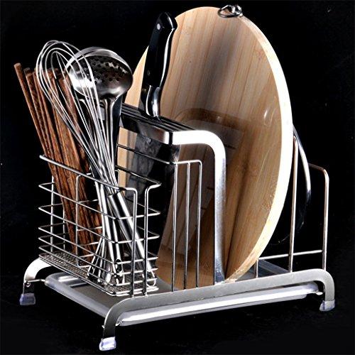 BOBE SHOP- Étagère multifonctionnelle de cuisine-304 étagère de support de couteau d'acier inoxydable/étagère de cuillère/couvercle drainant
