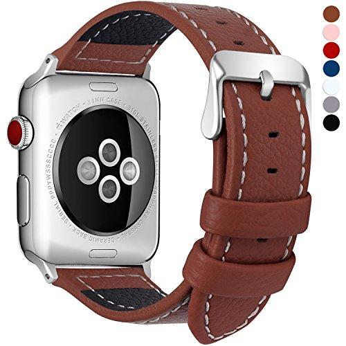Fullmosa LC-Jan Cuero Correa, 7 Colores Correa Compatible Apple Watch/iWatch Series 5, Series 4, Series 3, Series 2, Series 1, 38mm, 42mm, Marrón 38mm