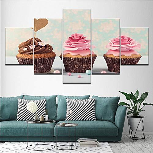 Meaosy Schilderij, 3 cupcakes, ijs, roze, 5-delig, muurkunst, modulaire achtergrondfoto, bedrukt, voor woonkamer, decoratie thuis 10x15/20/25cm (4x6/8/10inch)