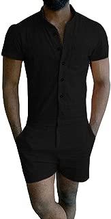 Mens Romper Short Sleeve One Piece Slim Fit Jumpsuits Plain Overalls